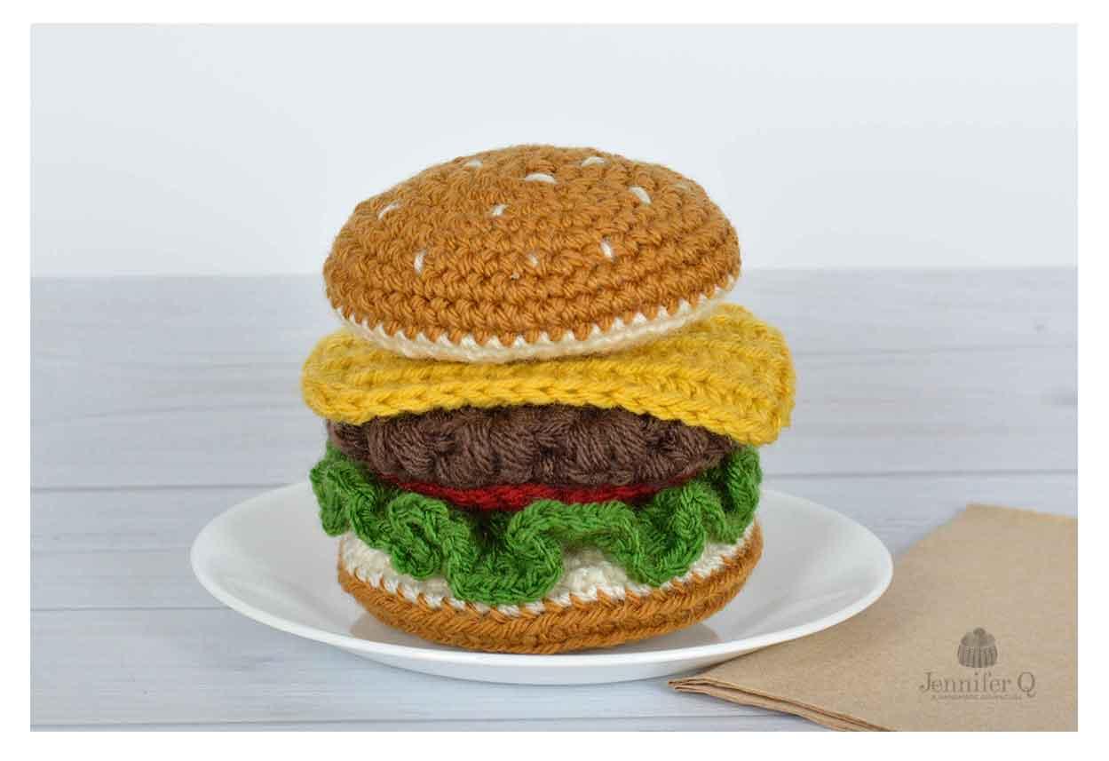 Hamburger Crochet Pattern, Burger Crochet Pattern, Hamburger ... | 857x1249