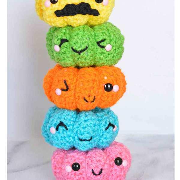 Colorful Crochet Pumpkins