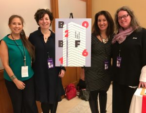 Dawn Lerman, Lori Galvin, Jennifer Brown, and Louise Miller at the Boston Book Festival