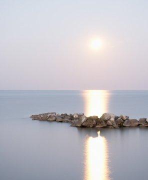 Moon Art - Lake Erie #3 Moonrise