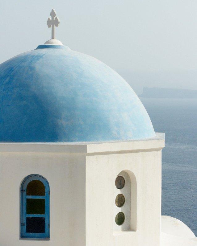 Santorini Art Print - Blue domed church photograph