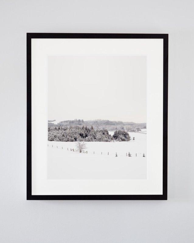 Winter Scene Photo - Frosty Fields - Rustic Snow Covered Field