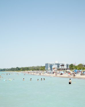 Grand Bend Beach Goers, Vertical - Large Beach Art Print