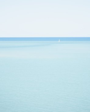 Sailing Lake Huron, Vertical - Minimalist Sailboat Photography Print