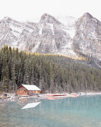 The Boathouse at Lake Louise, Vertical - Lake Louise Picture