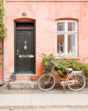 Happier on a Bike - Copenhagen Bicycle Art Print by Jennifer Squires