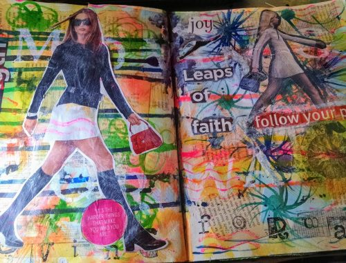 """art journal page featuring strutting model and words """"leap of faith"""" over multi-colored painted background."""