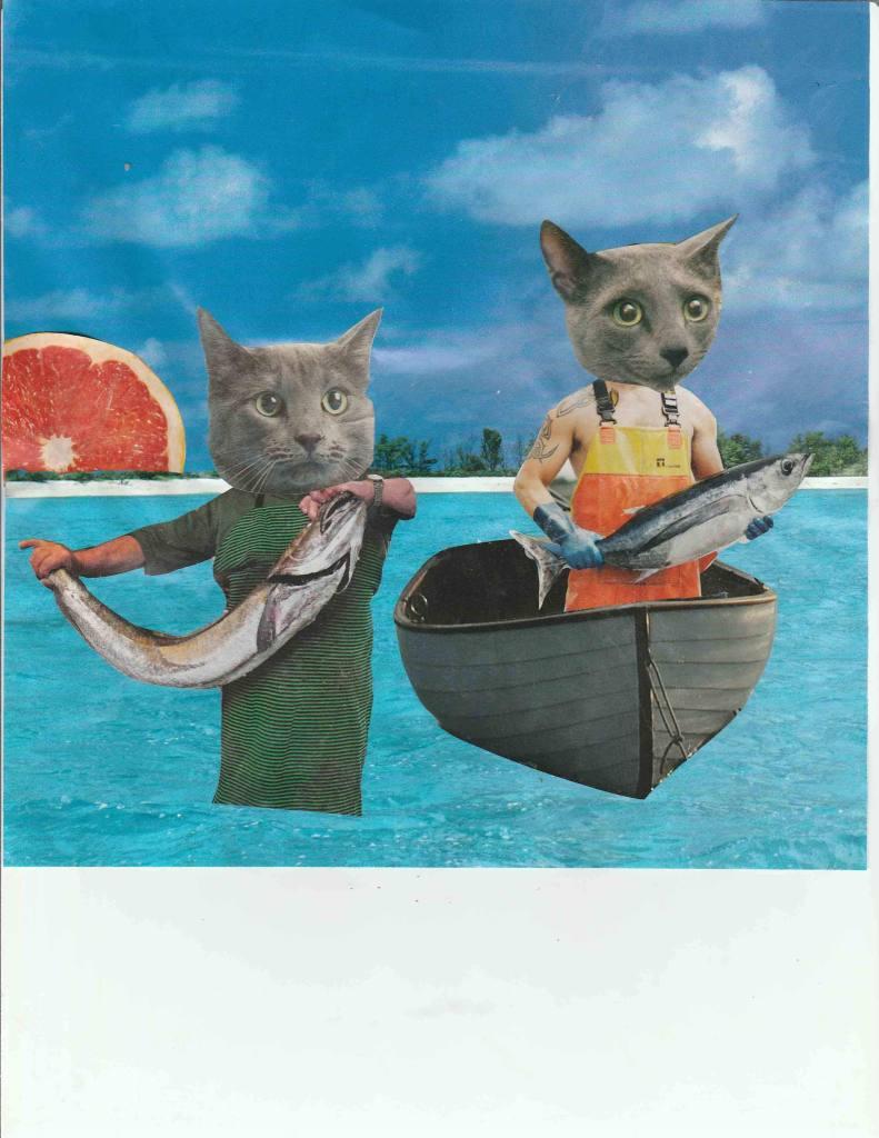 Cats go fishing. Magazine collage art.