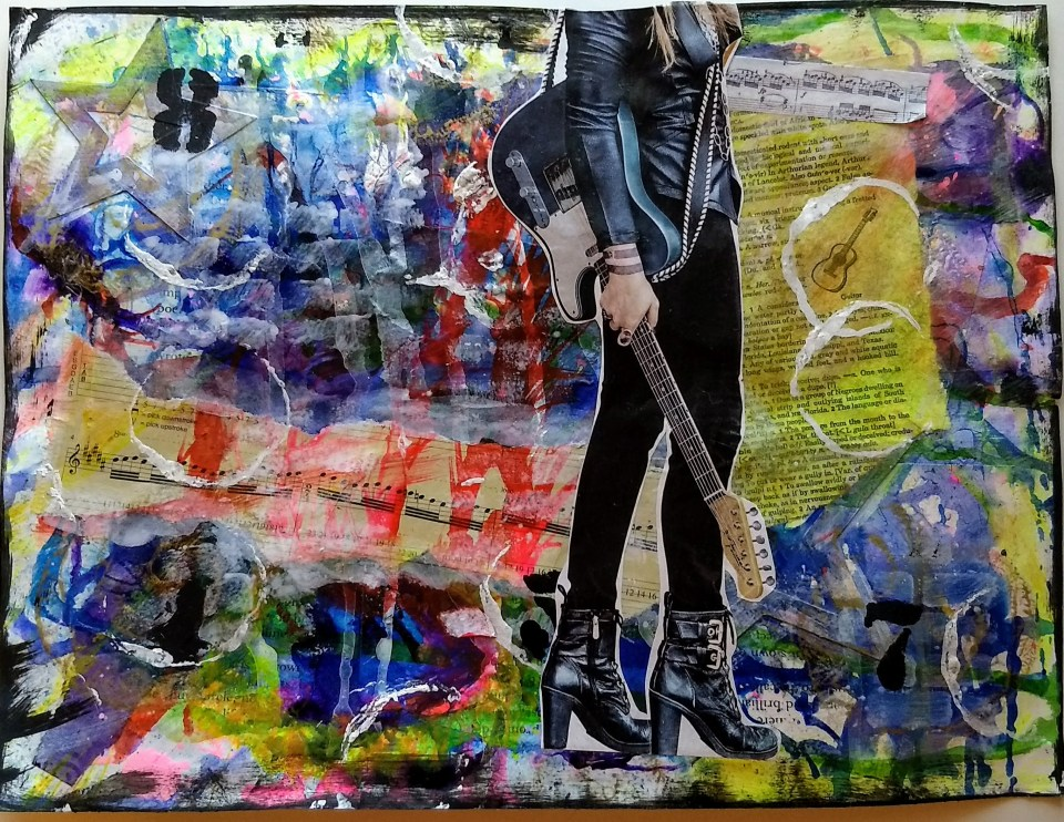 Rocker plays her colors. Collage painting.