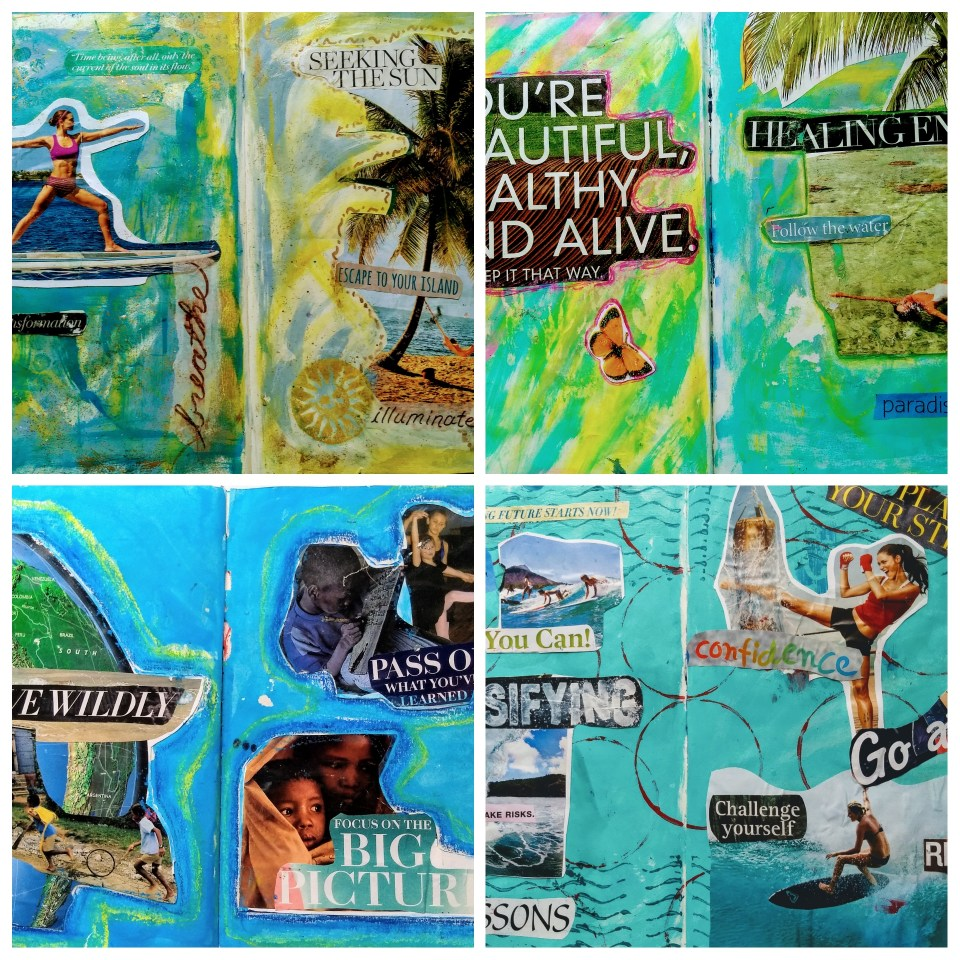 Collage of four art journal pages, inspirational collage technique. Simple painted backgrounds, cut-out images and motivating words and phrases.
