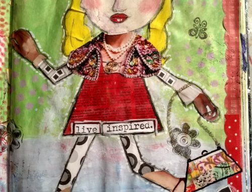 art journal page, collage painting, quirky girl