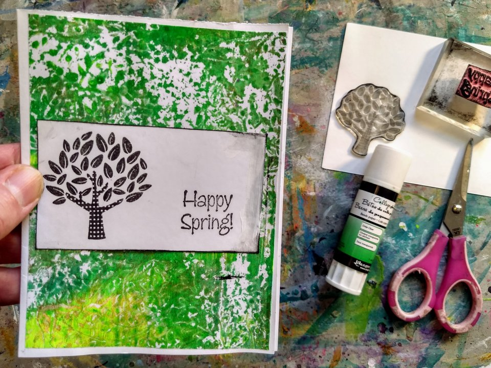 Happy Spring! card using gel prints and stamps, image and sentiment on white cardstock panel.