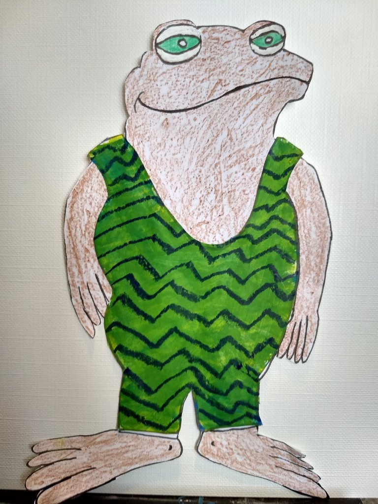 Toad's Bathing Suit: Green with Blue Zigzags. Frog and Toad are Friends, A Swim.