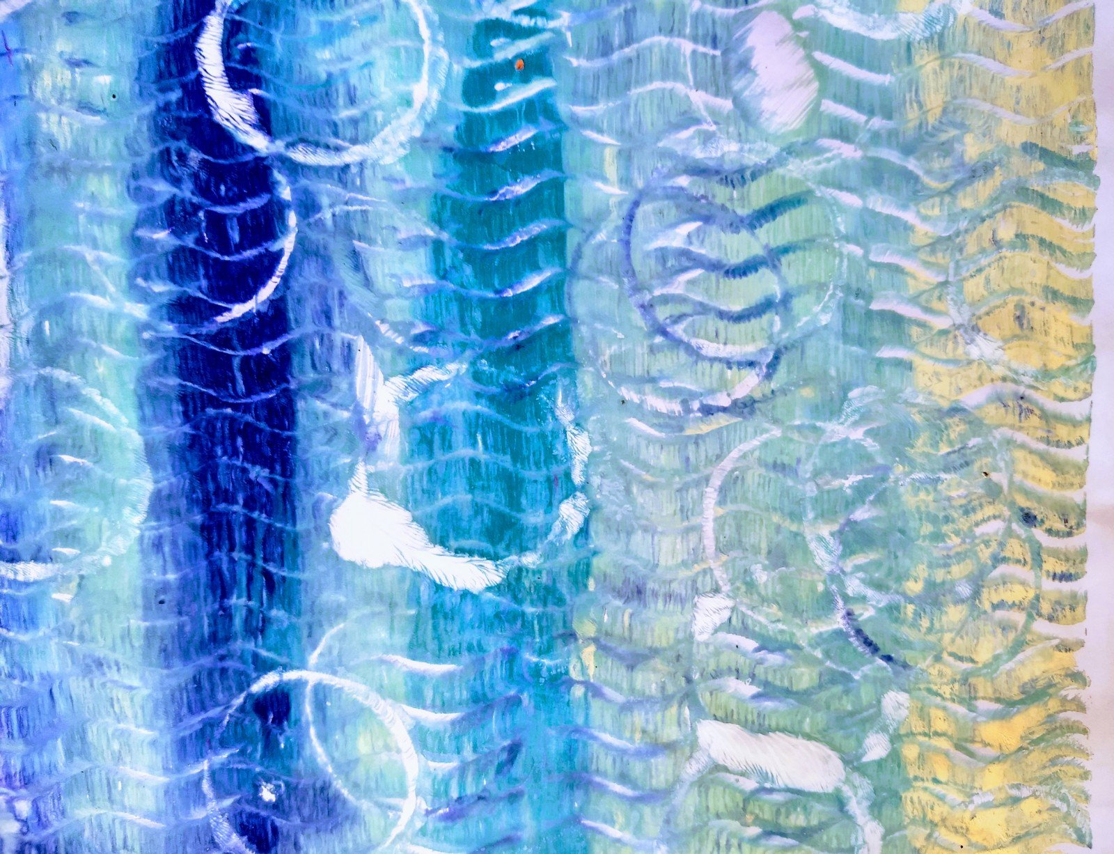 circles and waves in art journal; Art Journaling for Self Care, art therapy, painting with stencils, stamps, acrylic paints