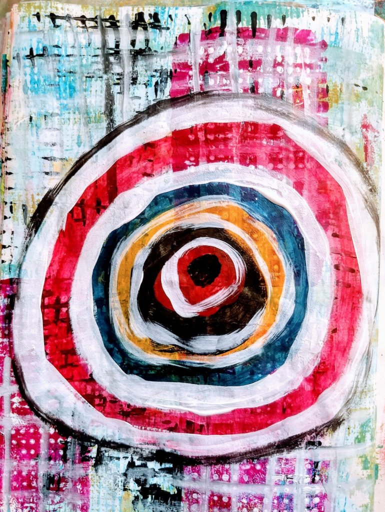 grids and a target in art journal. Art Journaling as Self-Care