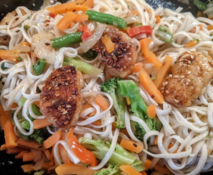 Vegan Chik'n Lo Mein with Stir-Fried Vegetables