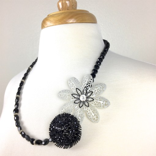 Vintage Black and White Brooch Necklace
