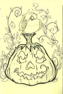 pumpkin owl Inktober SM