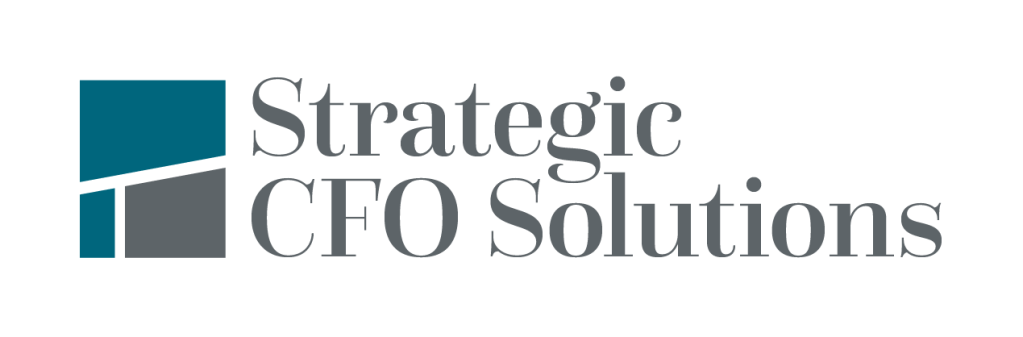 "Three pieces forming a square next to the words ""Strategic CFO Solutions"""