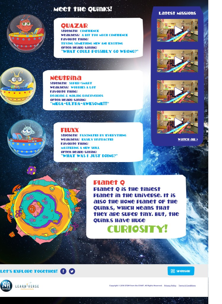 STEM from the Start website, Kids page
