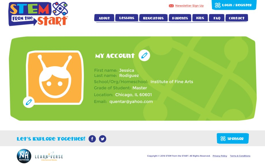 STEM Site - My Account