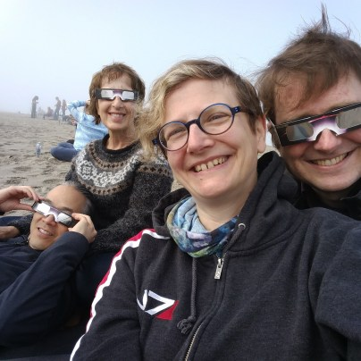 Eclipse watching with Marcia and Ted in Lincoln City. The skies cleared just enough for us to get a great show.