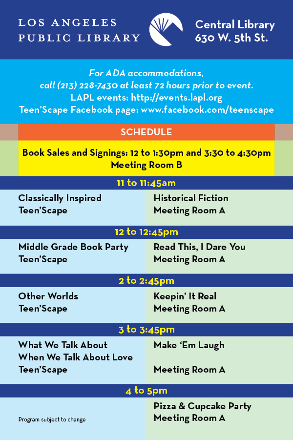 Teen Book Fest schedule