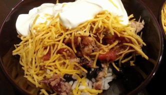 Copycat Burrito Bowl with Farm Rich Smokehouse Dry Rub Smoked Pork
