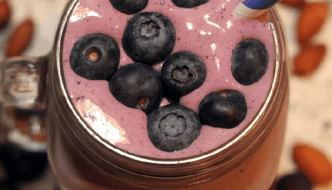 Post Workout Fruity Blueberry Strawberry Protein Smoothie