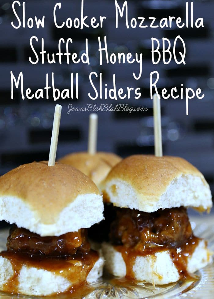 Slow Cooker Mozzarella Stuffed Honey BBQ Meatball Sliders