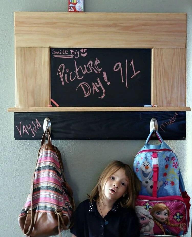 diy chalkboard shelves & backpack rack project