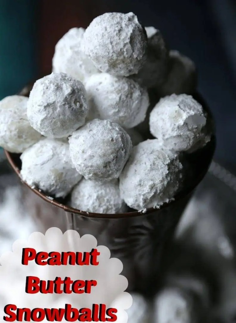 Cute No Bake Peanut Butter Snowball recipe with powder sugar outside
