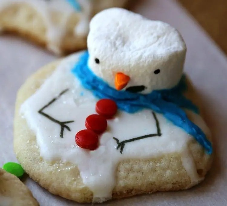 Cute Melted Snowman Cookies on table