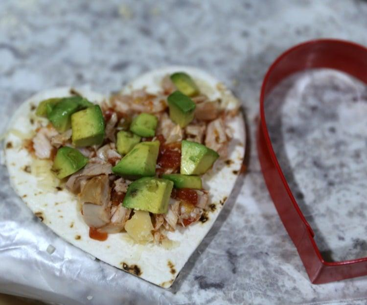 Heart Shap Chicken Avocado Quesadillas