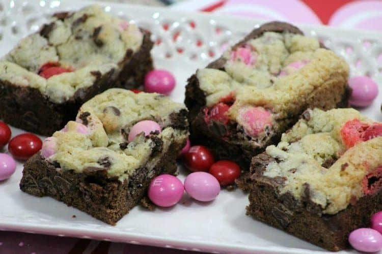 Brownie Chocolate Chip Bars Filled with Strawberry M&Ms