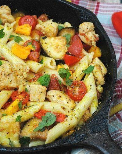 Chicken & Eggplant Skillet Pasta Recipe   Great Fall Recipe