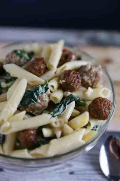 Sausage Meatball & Spinach Alfredo Recipe