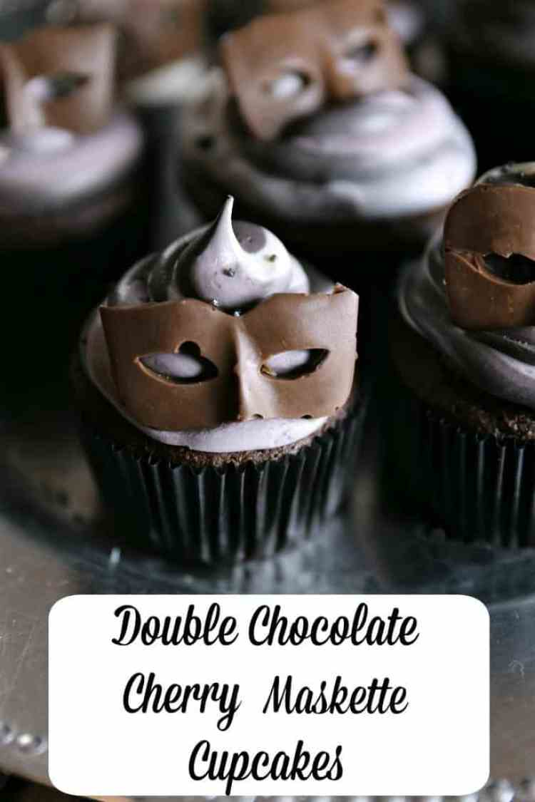 Double Chocolate Cherry Maskette Cupcakes