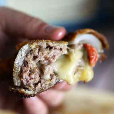 Green Chili Cheeseburger Stuffed Onion Rings