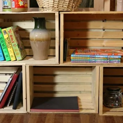DIY Wood Crate Shelves + Creating a Home Study Area for Your Kids