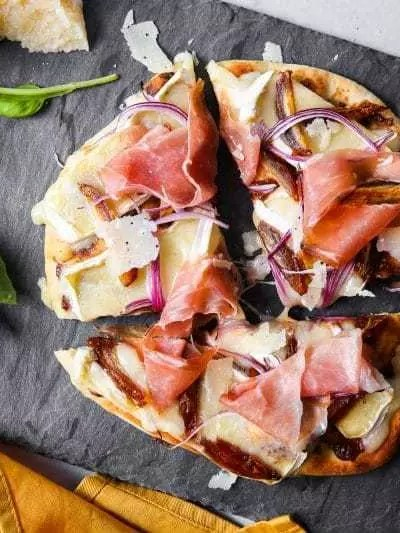 Flatbread Pizza Recipe with Stone Ground Mustard, Fig and Prosciutto