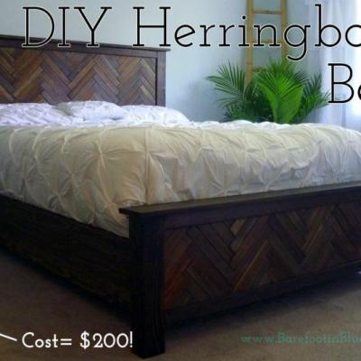 DIY Herringbone Bed