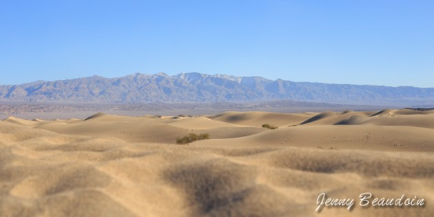 Sand dunes and mountain with snow on top