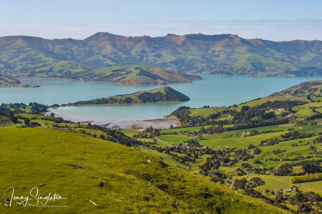 The Onawe Peninsula, seen from the Summit Road across the Banks Peninsula.