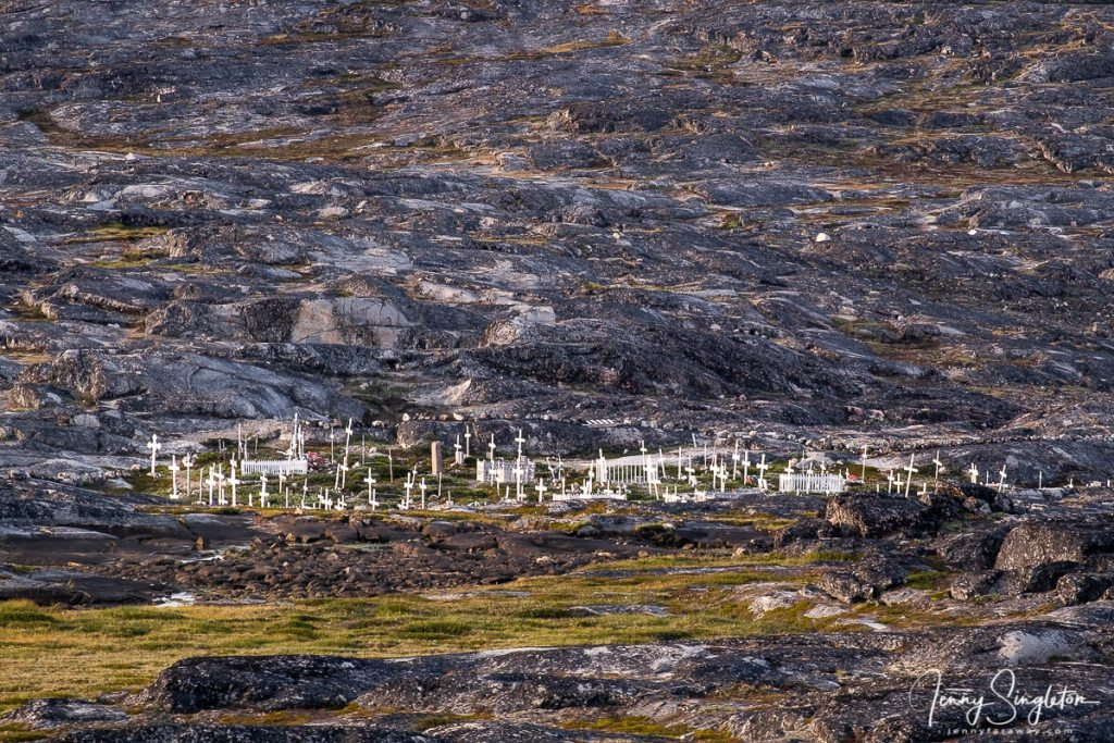 A small cemetery as seen from the summit of the Yellow Trail, Ilulissat