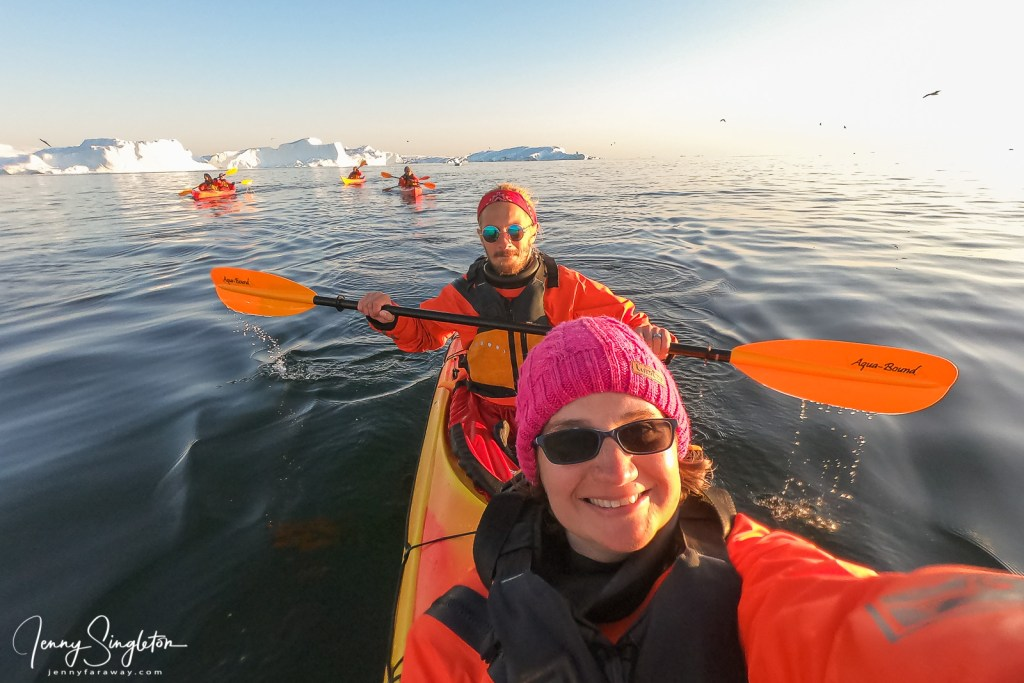 A selfie of me (front) and my kayak partner in front of the Ilulissat Icefjord.