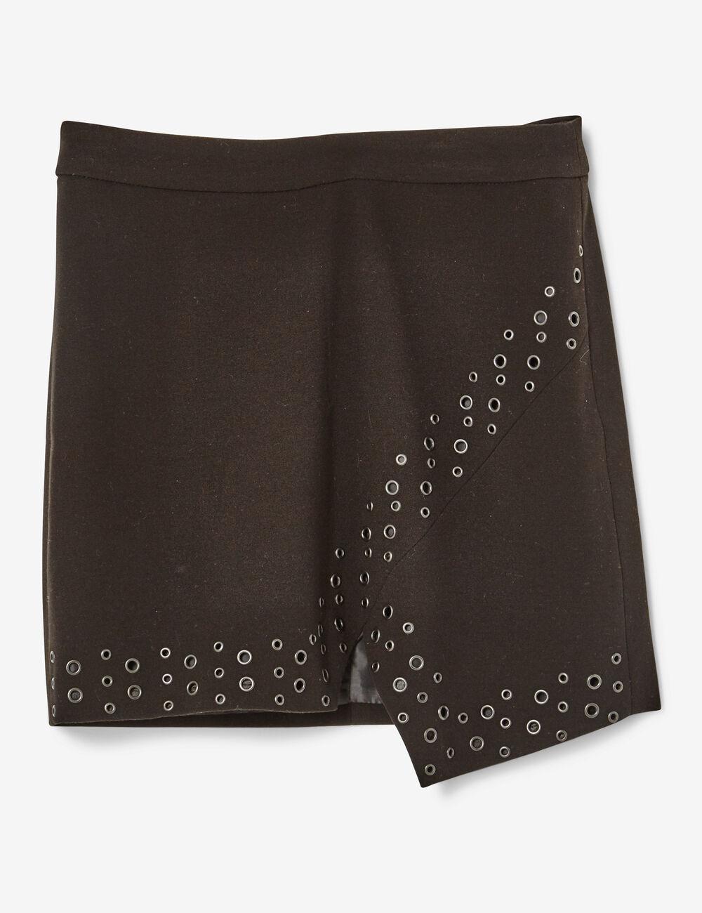 jupe asymétrique à oeillets noire