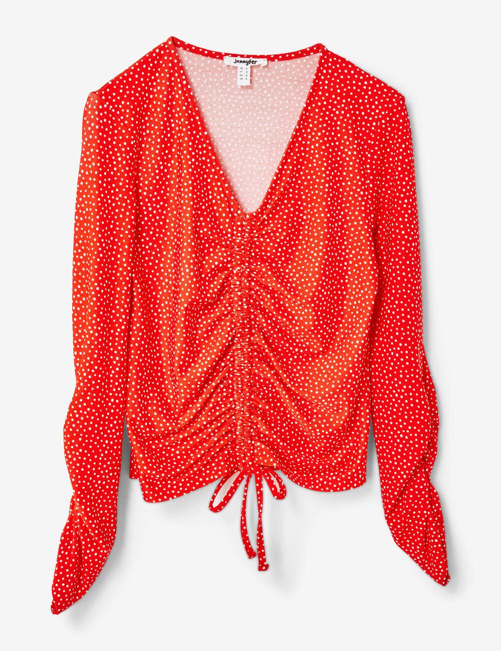 tee-shirt à pois et fronces rouge et blanc