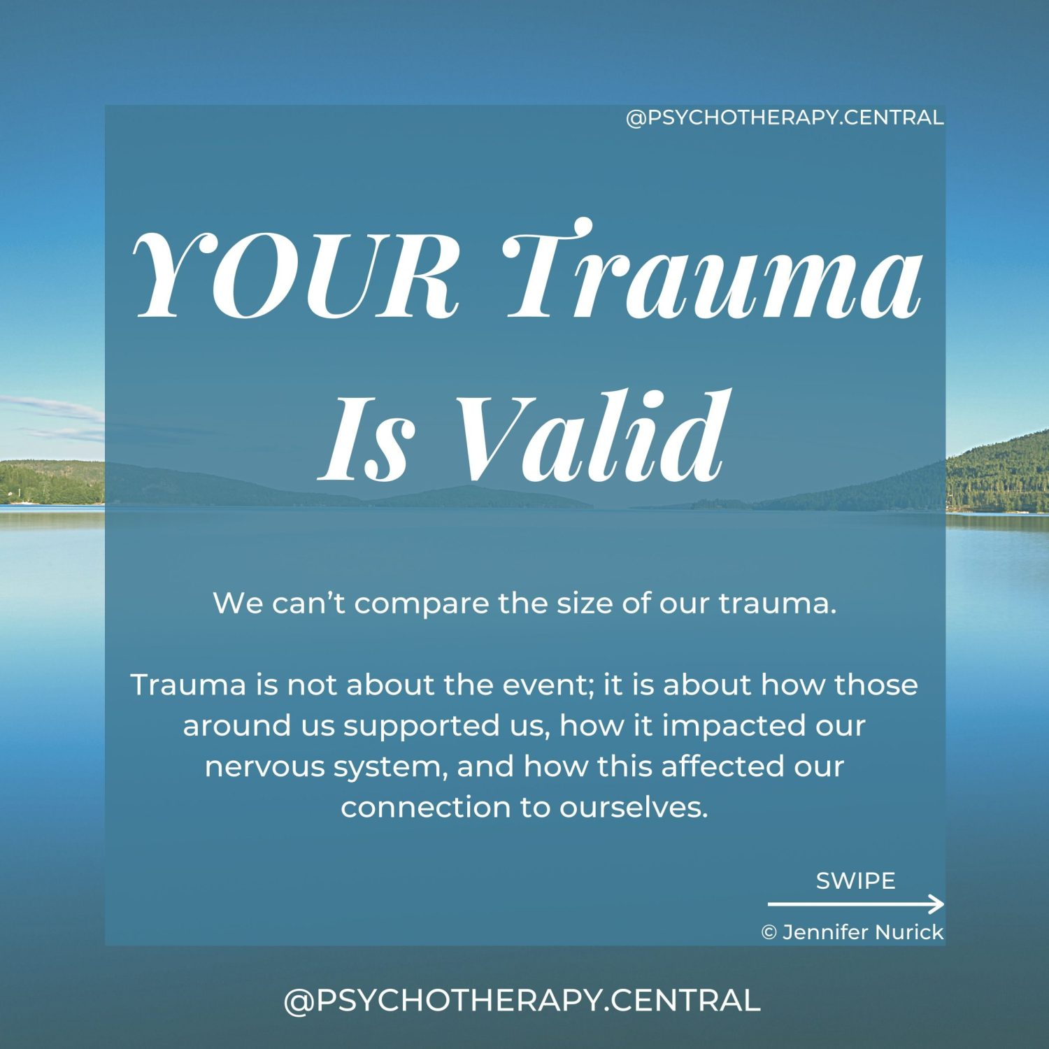 Trauma is not about the event; it is about how those around us supported us, how it impacted our nervous system, and how this affected our connection to ourselves. We can't compare the size of our trauma.