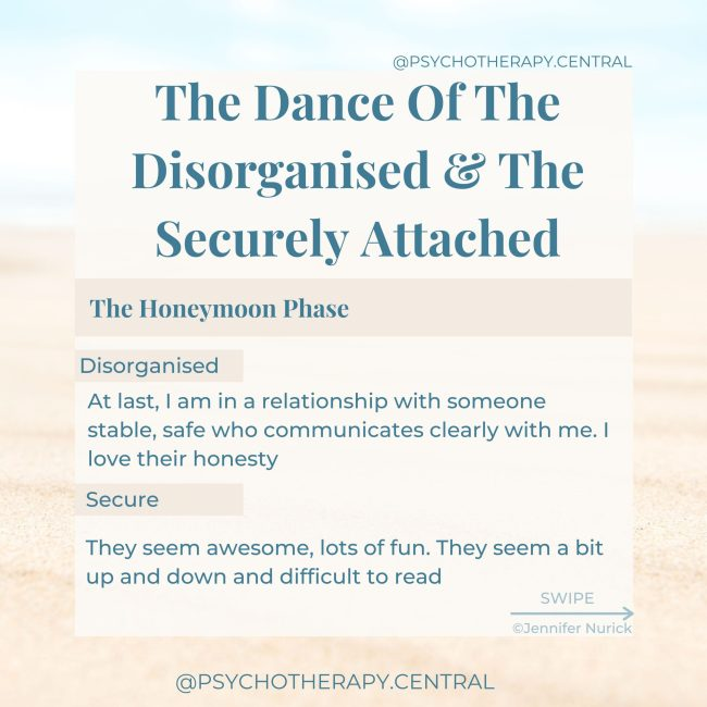 """The Dance Of The Disorganised And The Securely Attached HONEYMOON PHASE: Disorganised: """"At last, I am in a relationship with someone stable, safe, and communicates clearly with me. I love their honesty."""" Secure: """"They seems awesome, lots of fun. They seem a bit up and down, and difficult to read."""""""